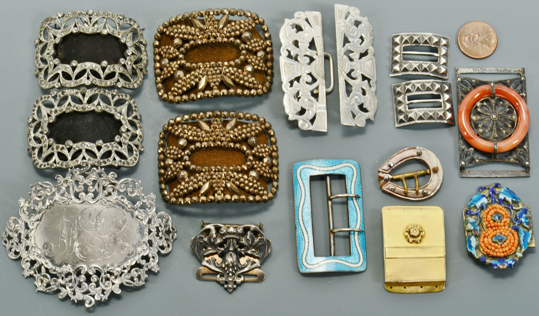 Vintage shoe and belt buckles, some sterling