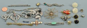 Lot 751: 17 pcs vintage jewelry inc. 10K cameo, bugs, snake