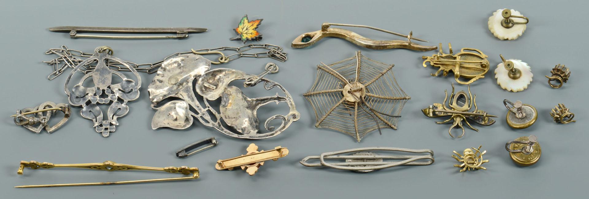 17 pcs vintage jewelry inc. 10K cameo, bugs, snake