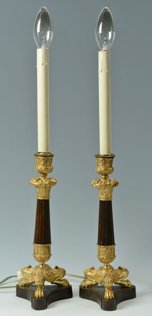 Lot 754: Two Pair of Antique Decorative Lamps