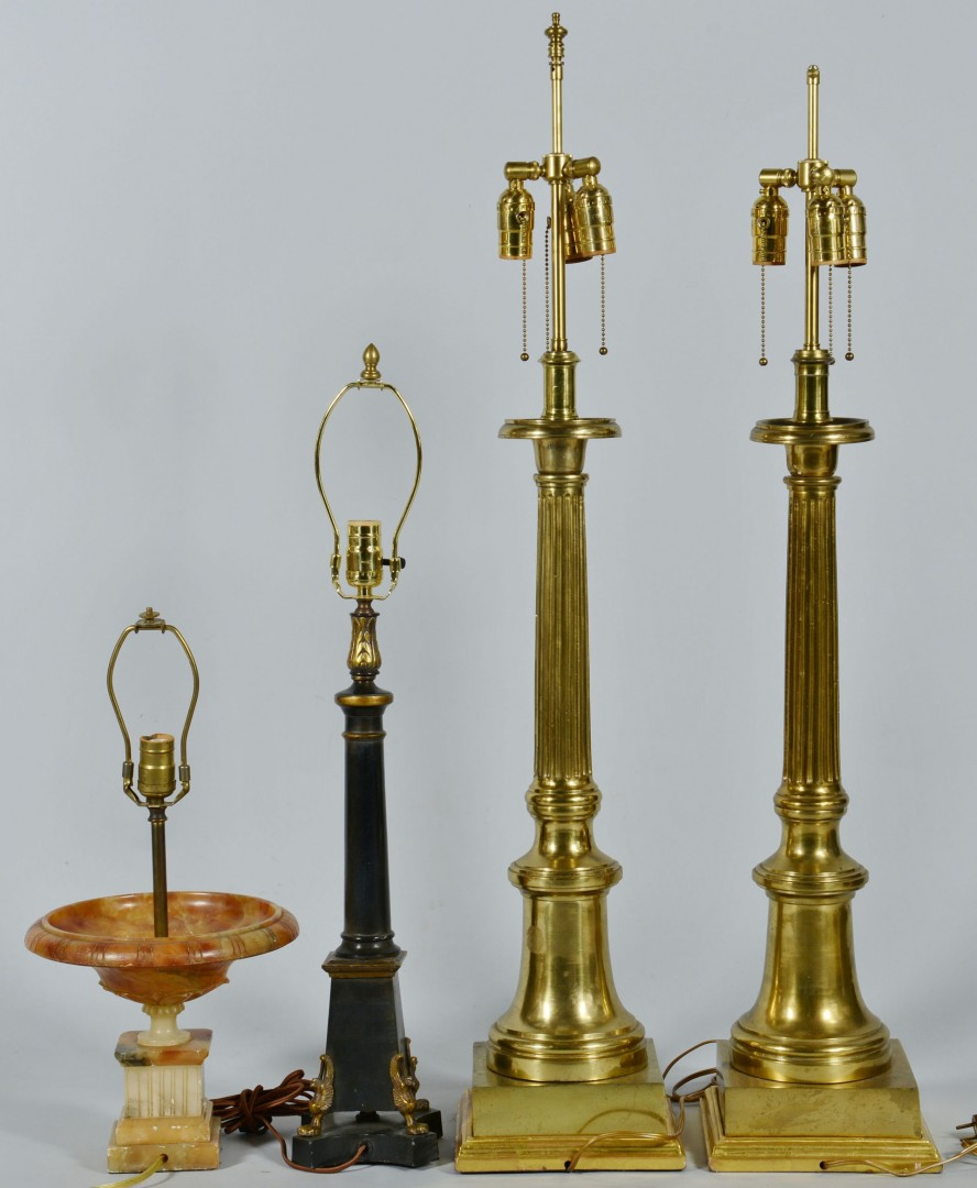 Lot 755: Pair Tall Brass Lamps and 2 others, 4 total