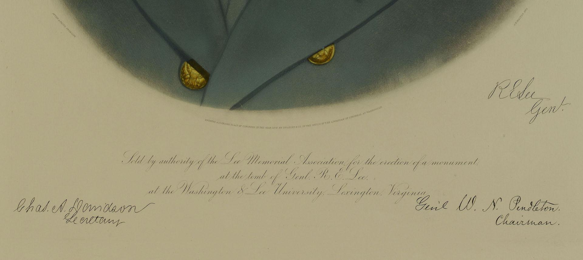 Robert E. Lee Memorial Engraved Portrait, 1870