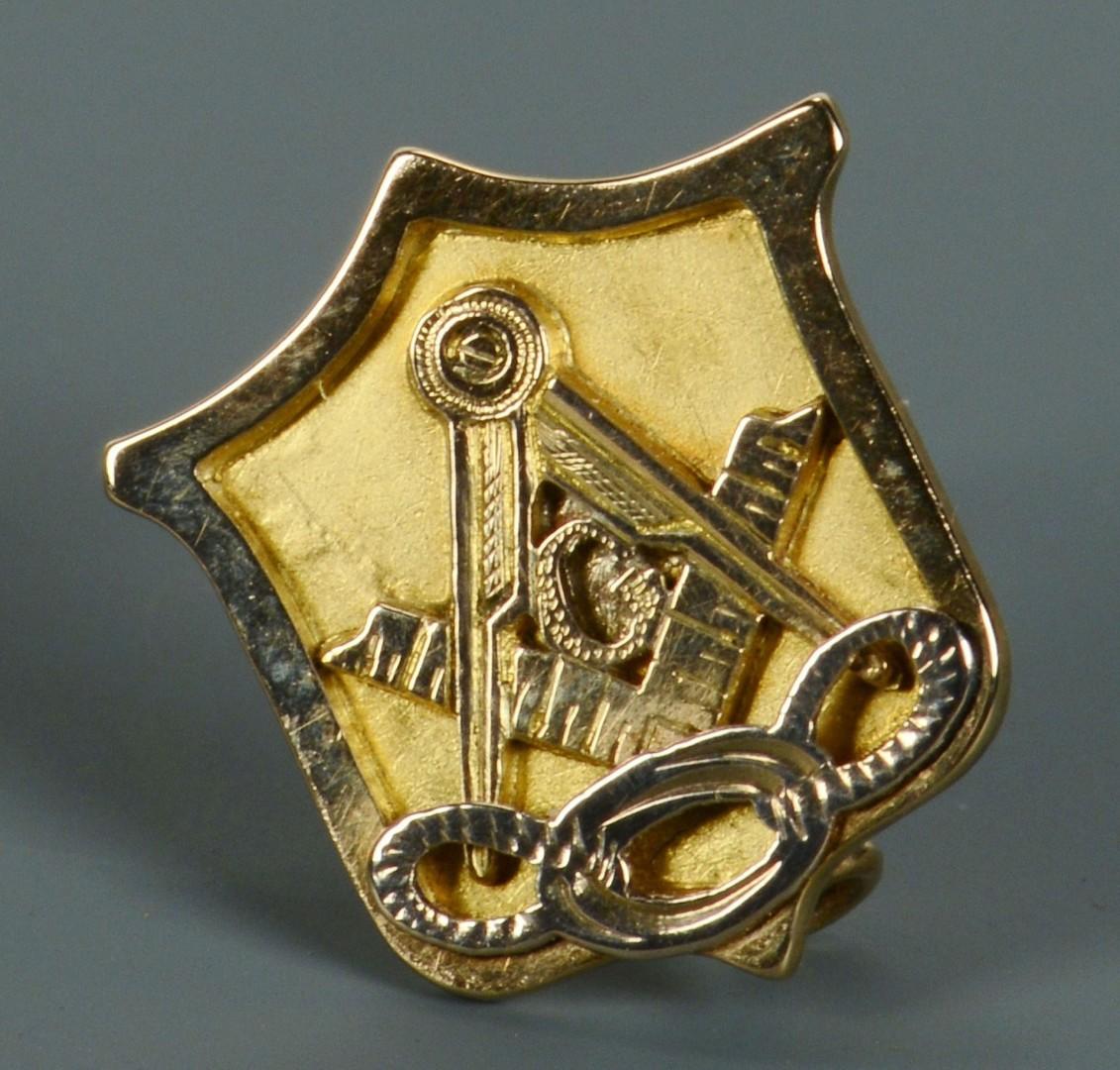 Lot 77: 14k Masonic Pin, Donelson inscription