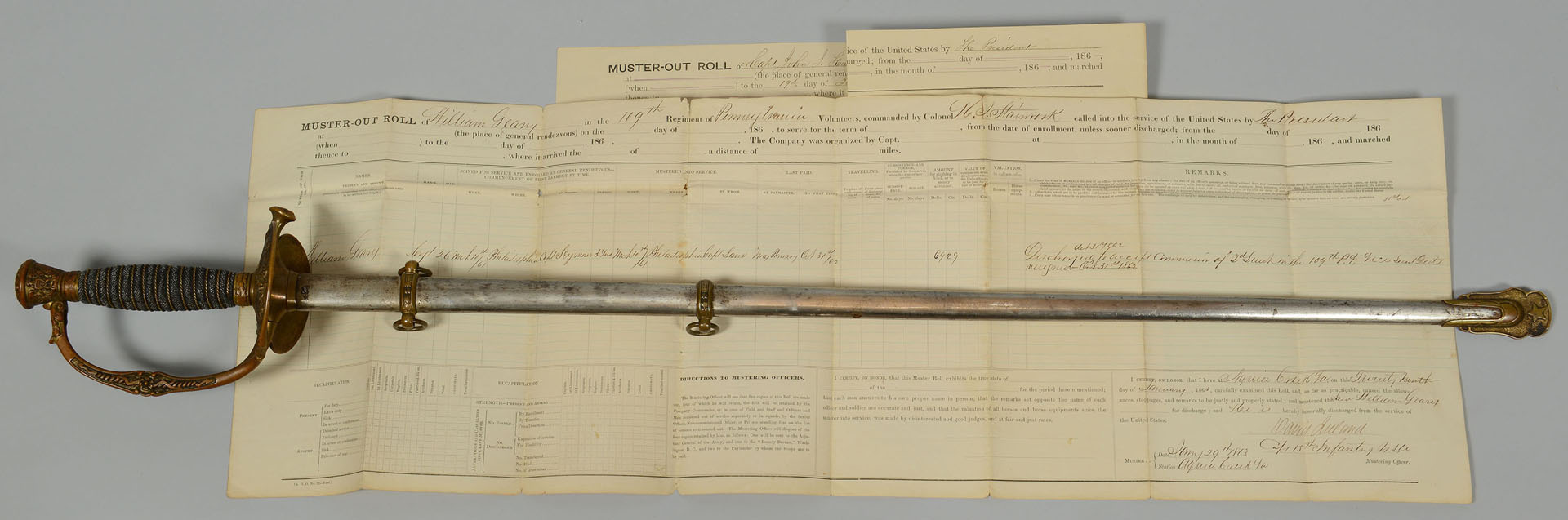 Ames M1860 Sword & Scabbard, William Geary