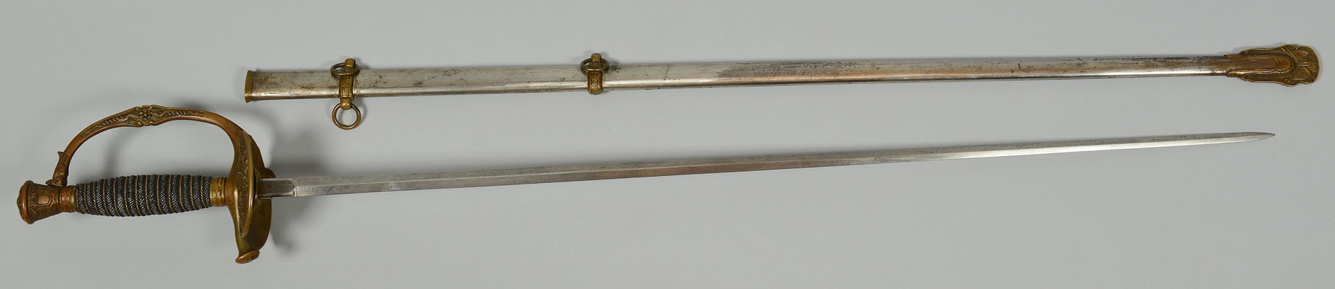Lot 83: Ames M1860 Sword & Scabbard, William Geary