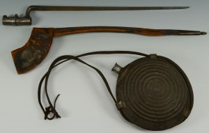 Lot 85: CIvil War Bulls Eye Canteen & Bayonet for .58 cal