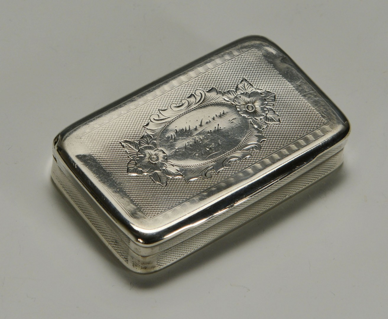 Lot 88: Coin silver snuff box, dated 1864