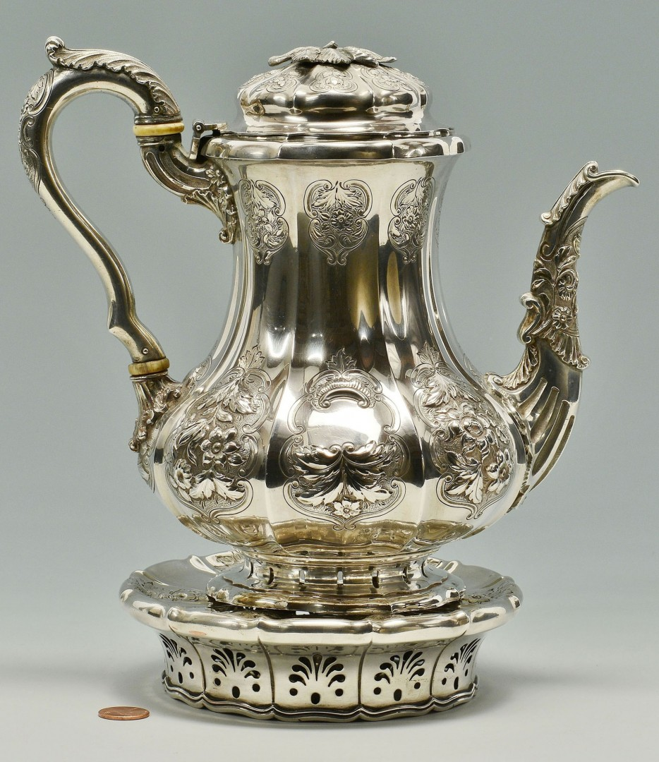 Heavy Coin Silver Teapot with warming stand