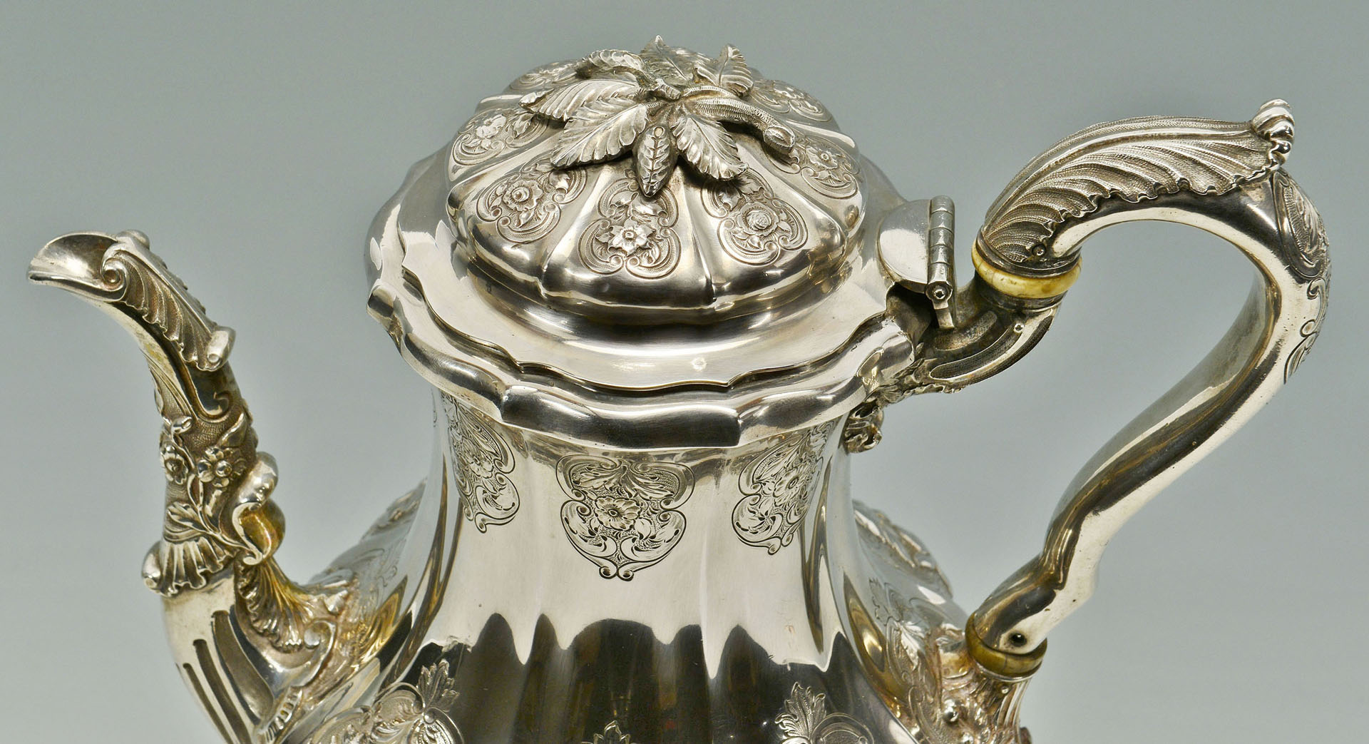 Lot 89: Heavy Coin Silver Teapot with warming stand