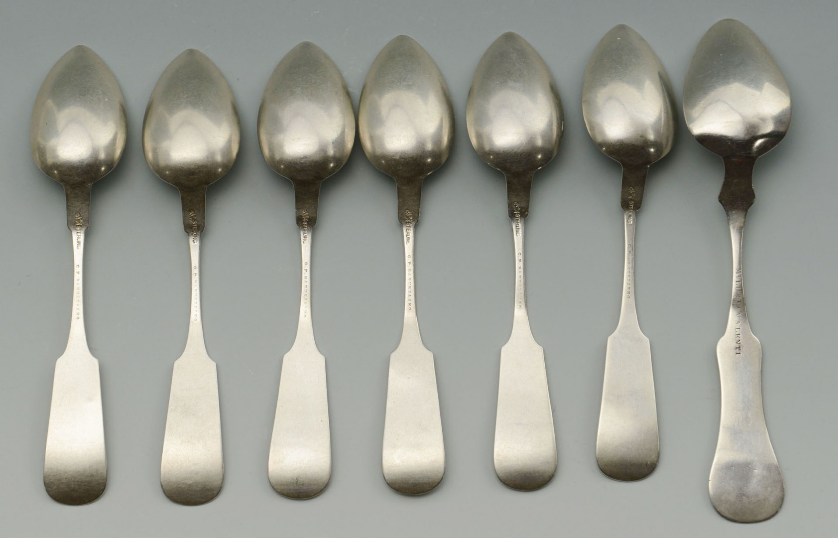 Lot 92: Seven Kentucky retailed silver spoons