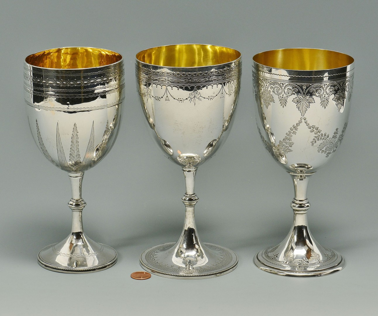 Lot 95: 3 Victorian Silver Chalice Goblets