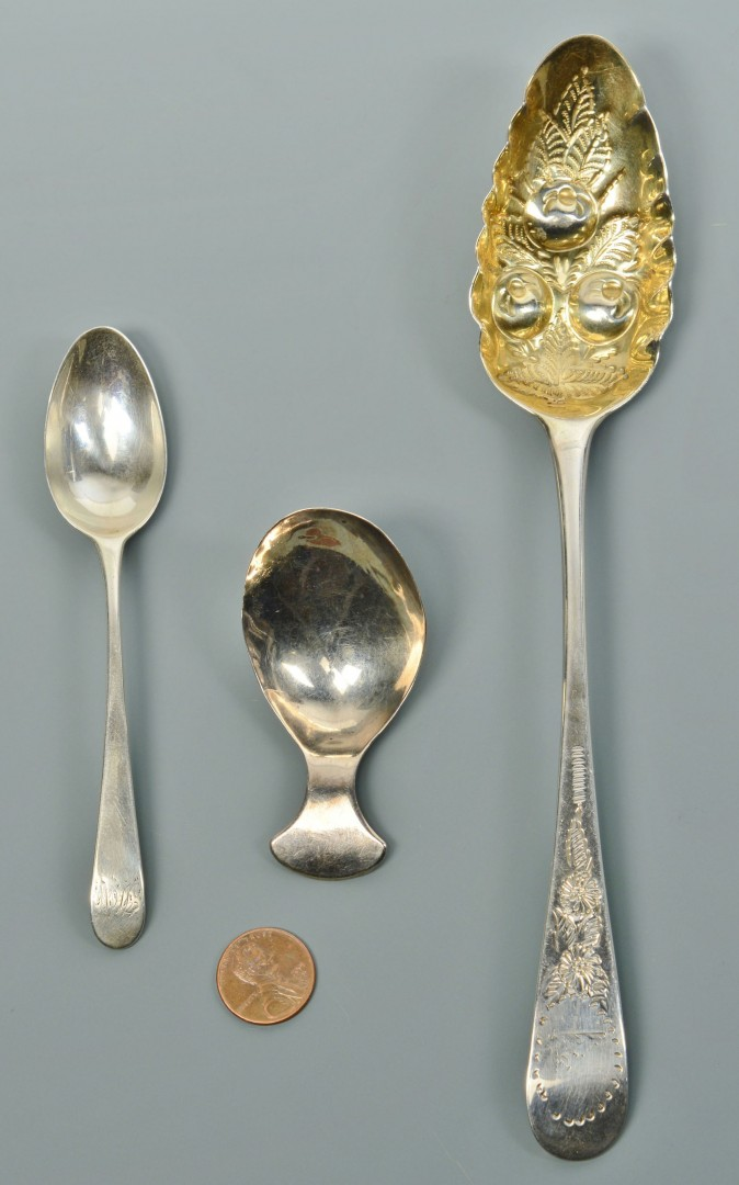 Elizabeth Morley, Ann & Hester Bateman spoons inc. caddy spoon, 3 items