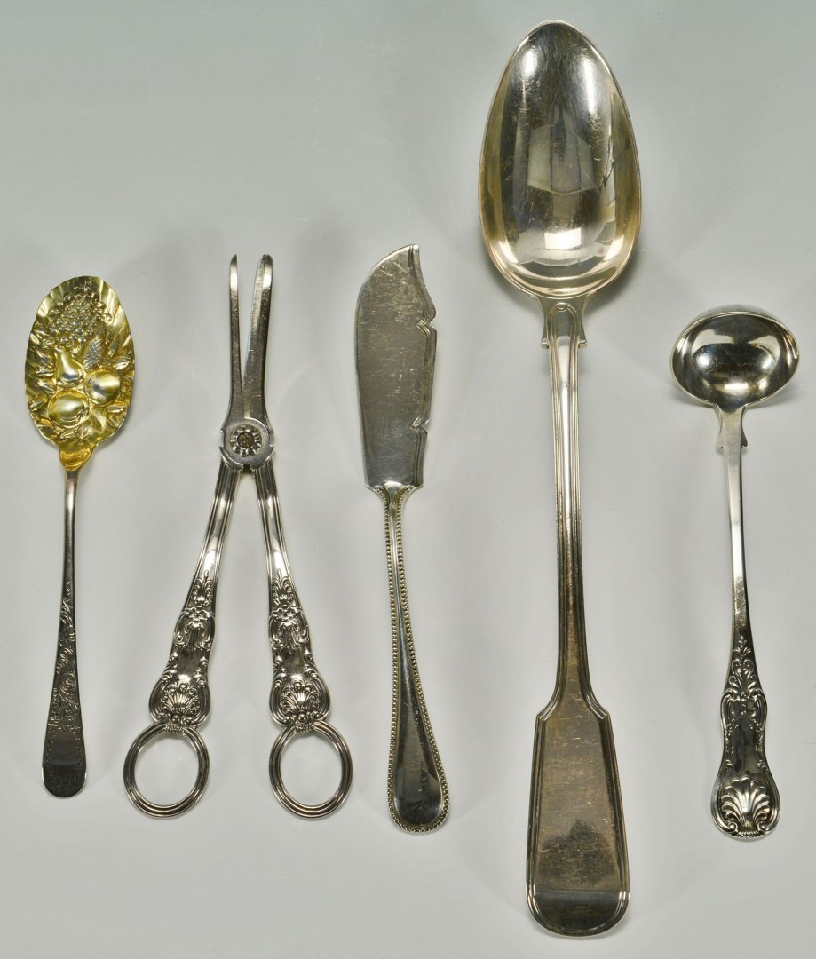 5 English Silver Serving Pieces inc. Stuffing spoon