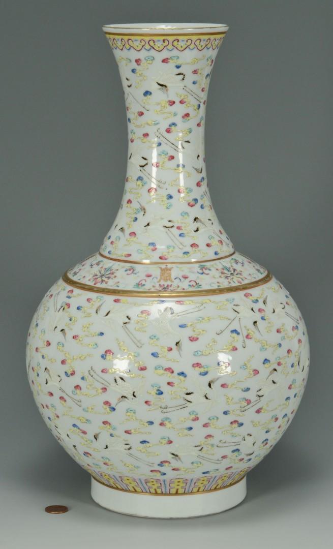 Lot 9: Chinese Porcelain Bottle Vase w/ Crane Decoration