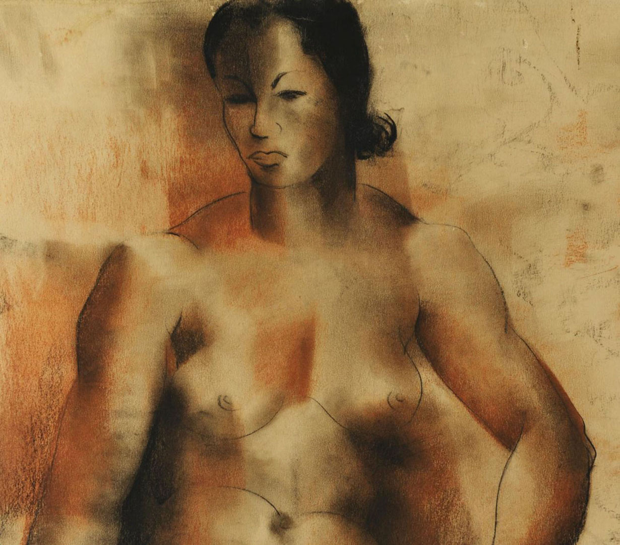 Lot 2872253: Abraham S. Baylinson Nude Pastel