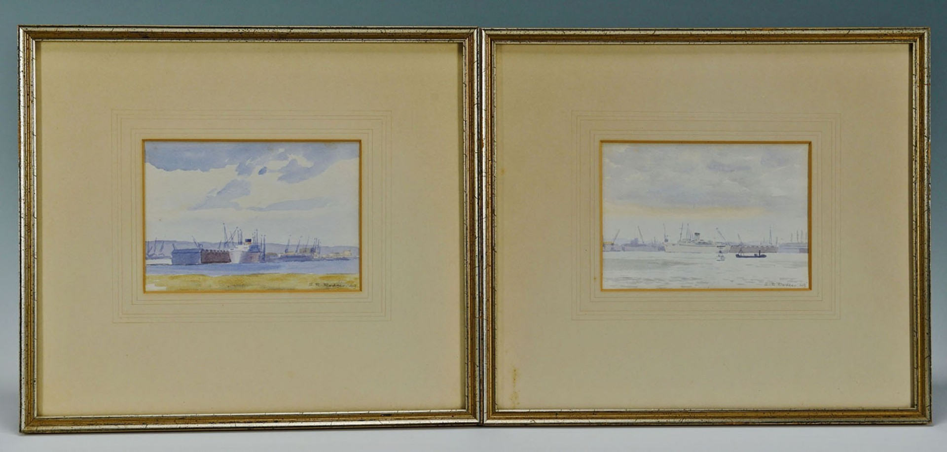 Lot 2872255: Pair of Nautical Watercolors signed S. R. Rodger