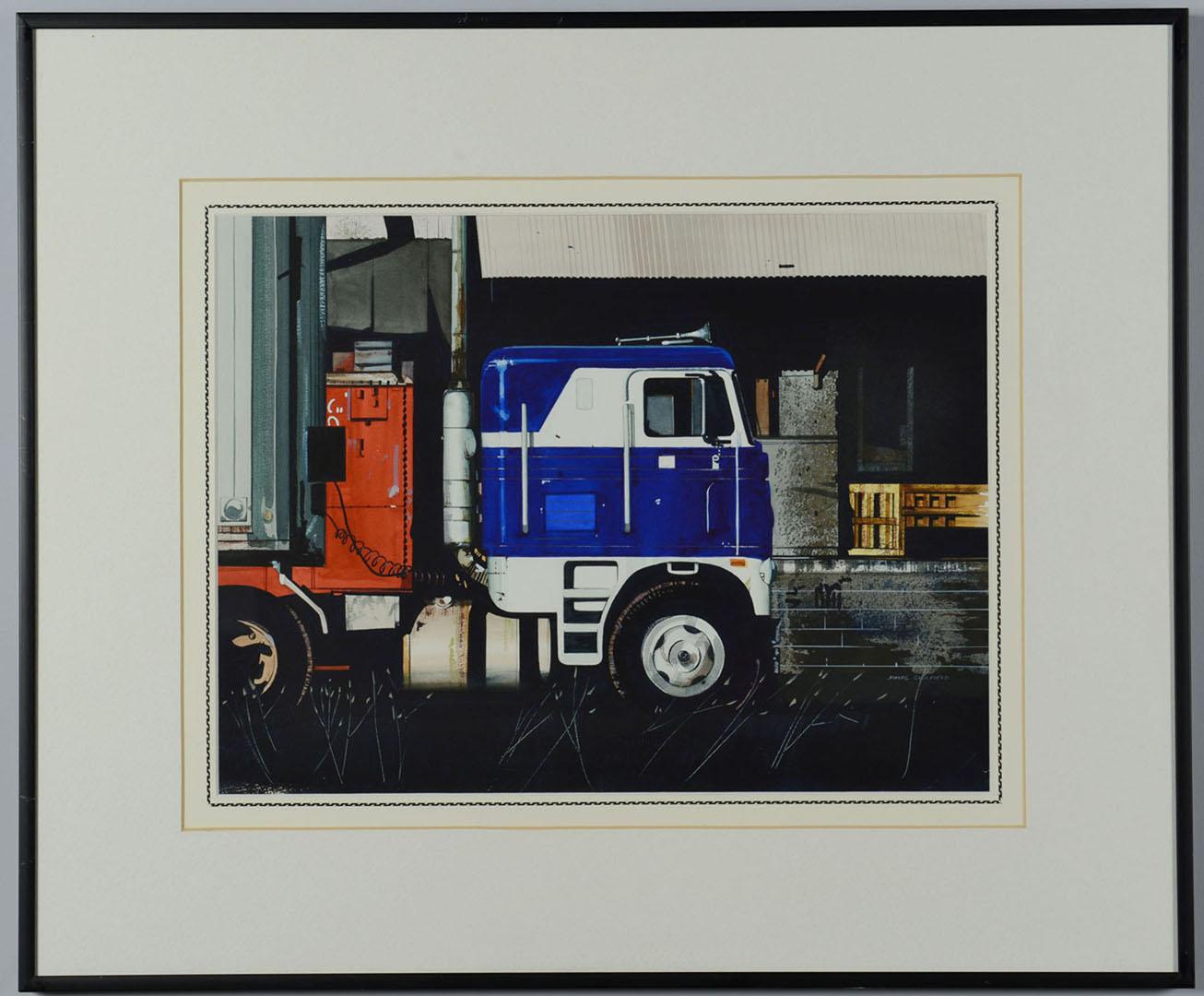 Lot 2872259: 1 James Caulfield watercolor painting – semi truck