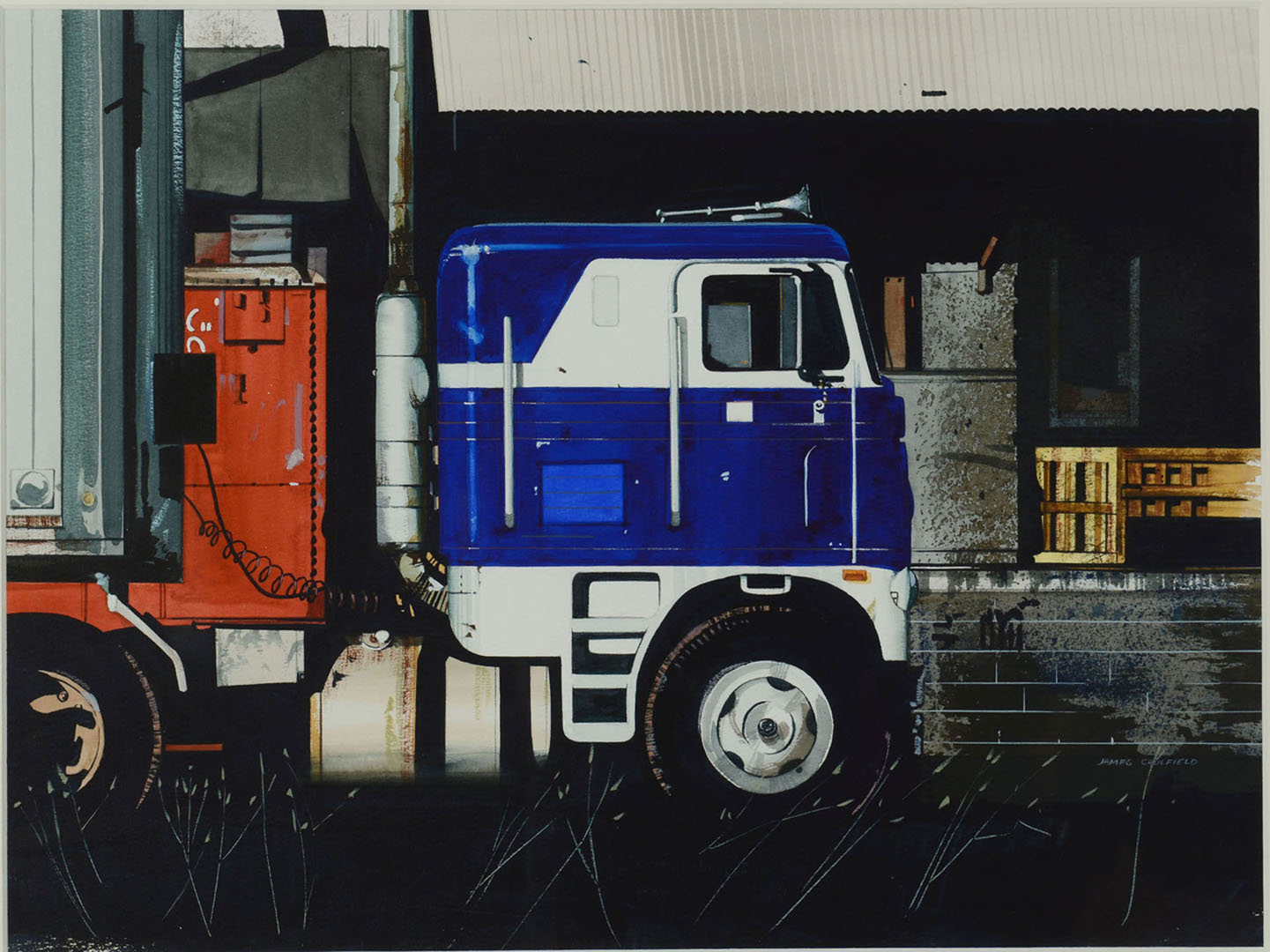 Lot 2872259: 1 James Caulfield watercolor painting – semi truck