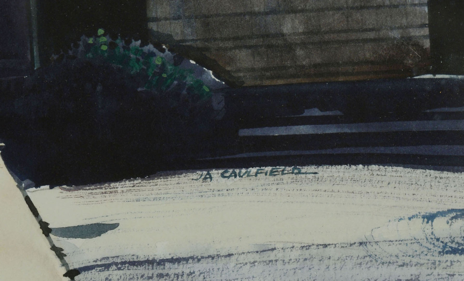 Lot 2872260: 2 James Caulfield watercolor paintings – Cafe and