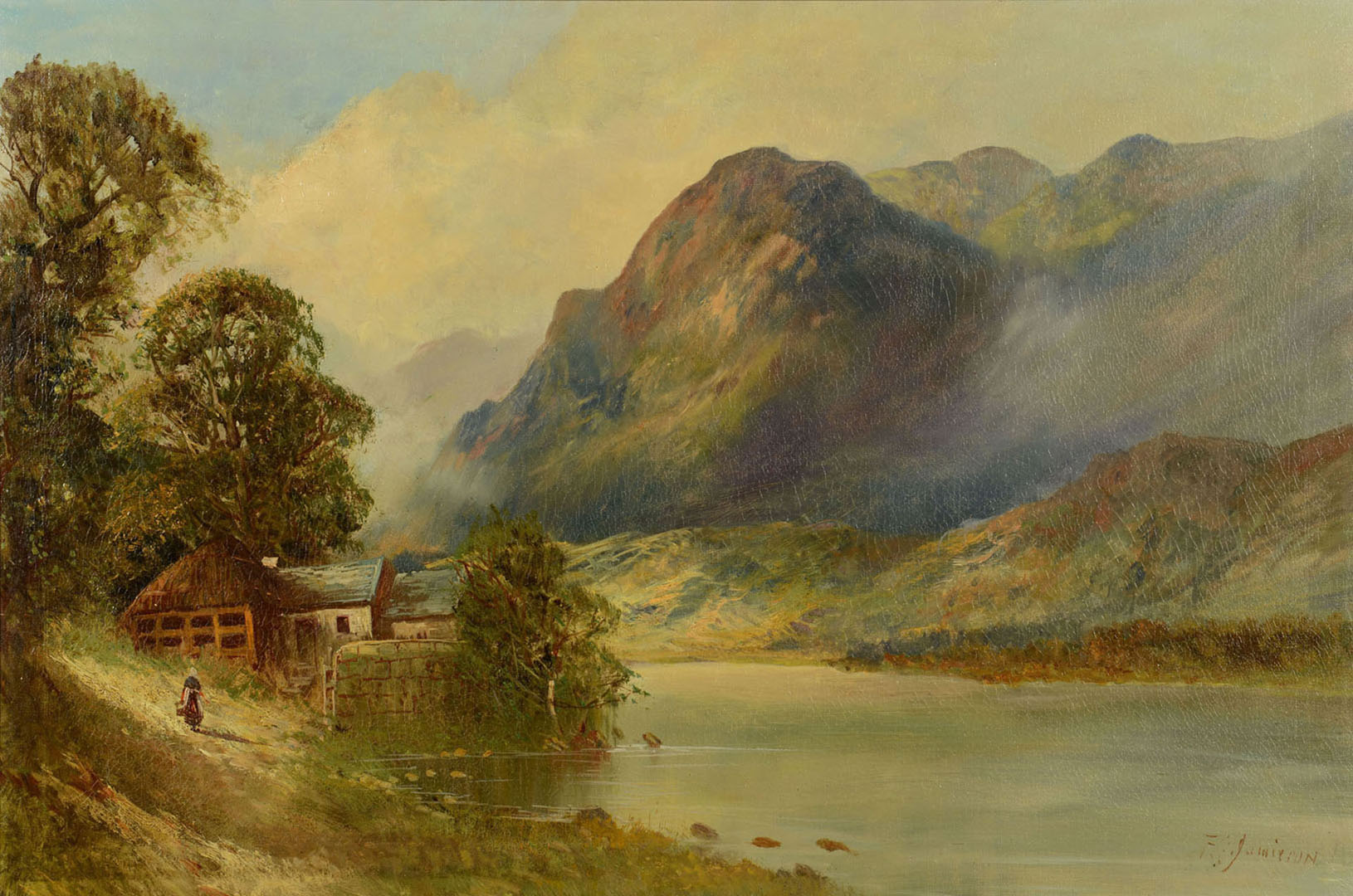Lot 2872262: F.E. Jamieson o/c, Scottish Highland Landscape