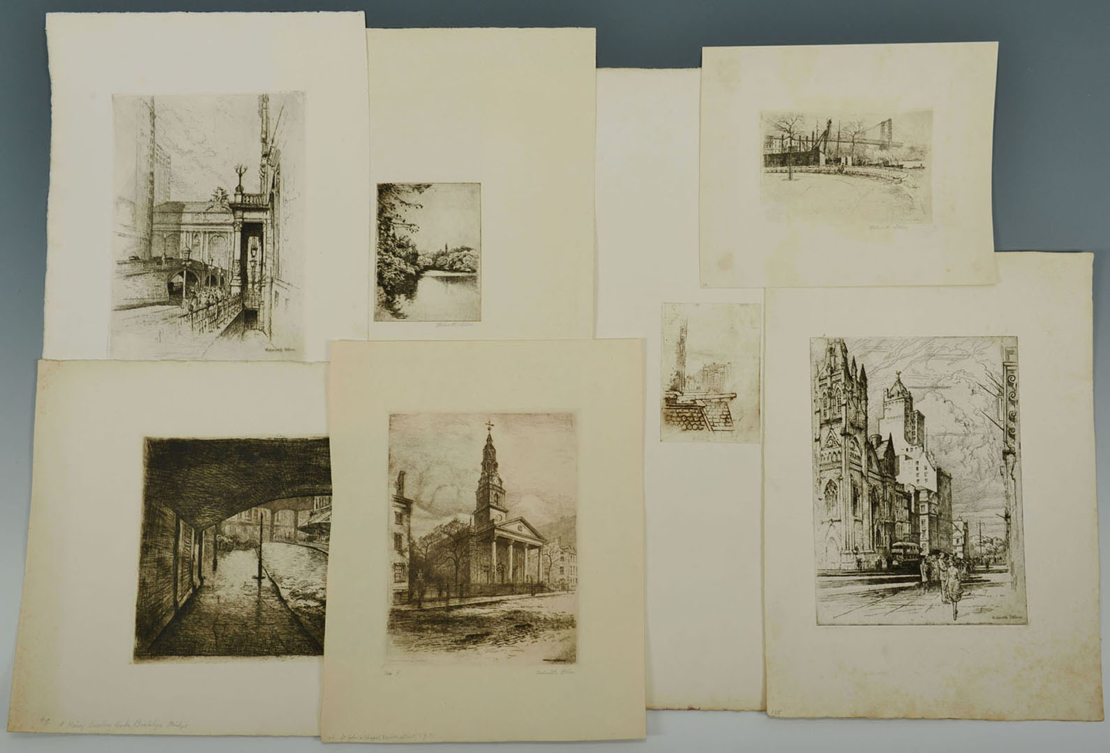 Lot 2872267: Walworth Stilson Etchings of New York City, 7 tota
