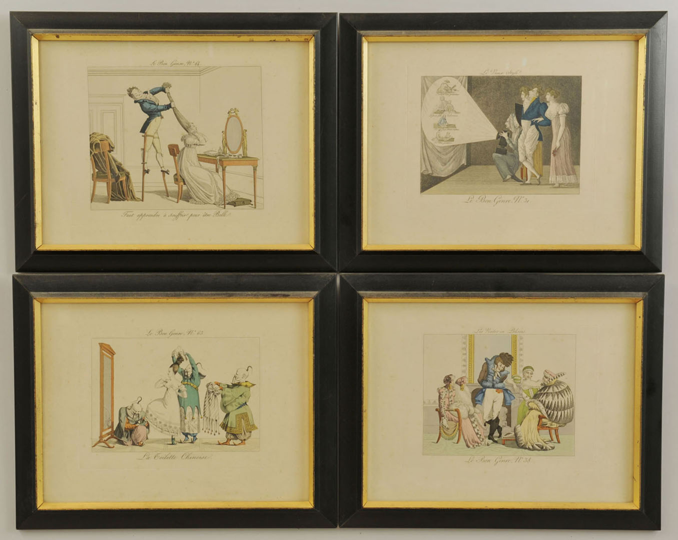 Lot 2872272: 4 French Colored Engravings, Le Bon Genre