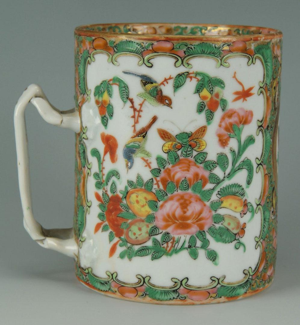 Lot 2872278: Chinese Porcelain Rose Medallion Mug, Spoon & Box