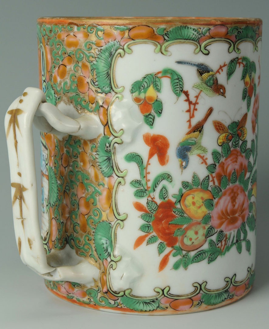 Lot 2872278: Chinese Porcelain Rose Medallion Mug, Spoon & Box