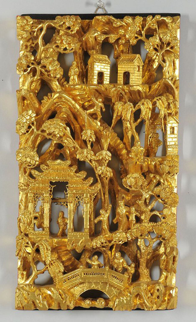 Lot chinese carved gilt wood frieze panel