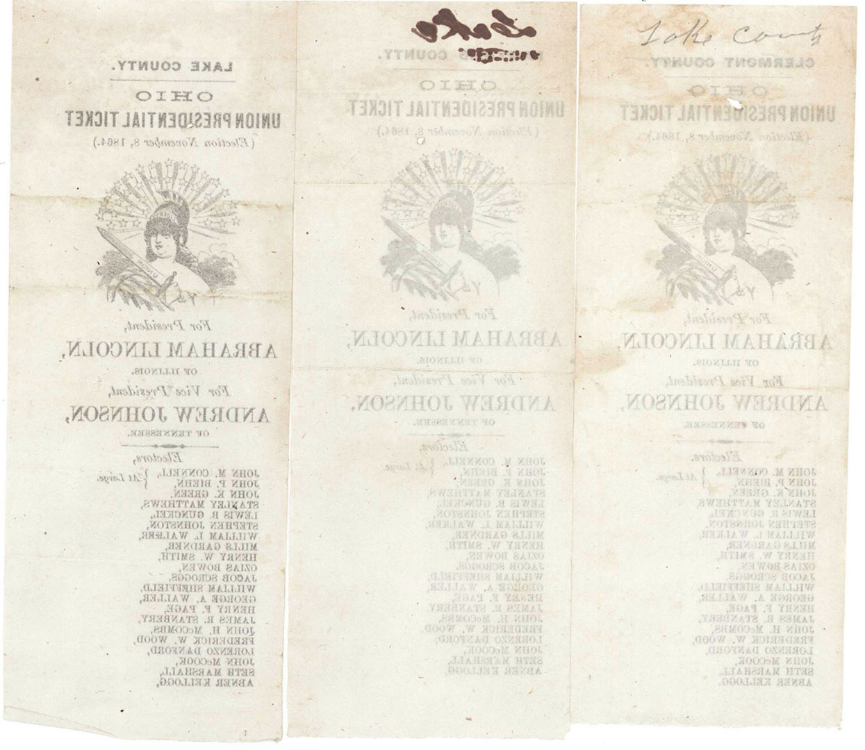 Lot 2872294: Three 1864 Election Ballots from Ohio