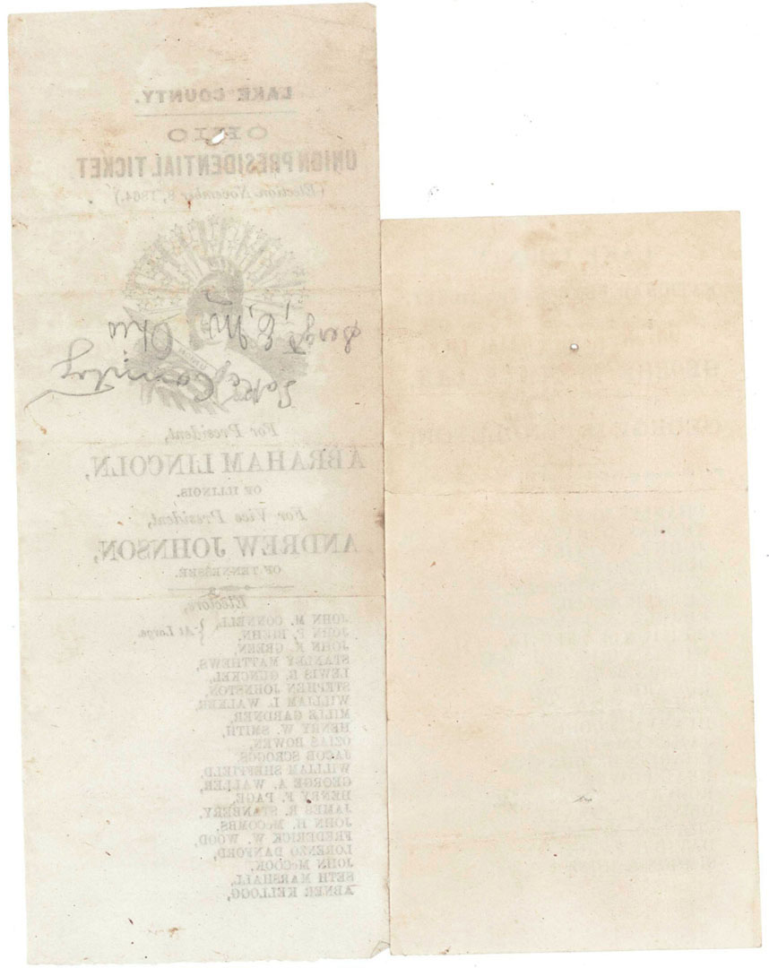 Lot 2872295: Two 1864 Election Ballots from Ohio
