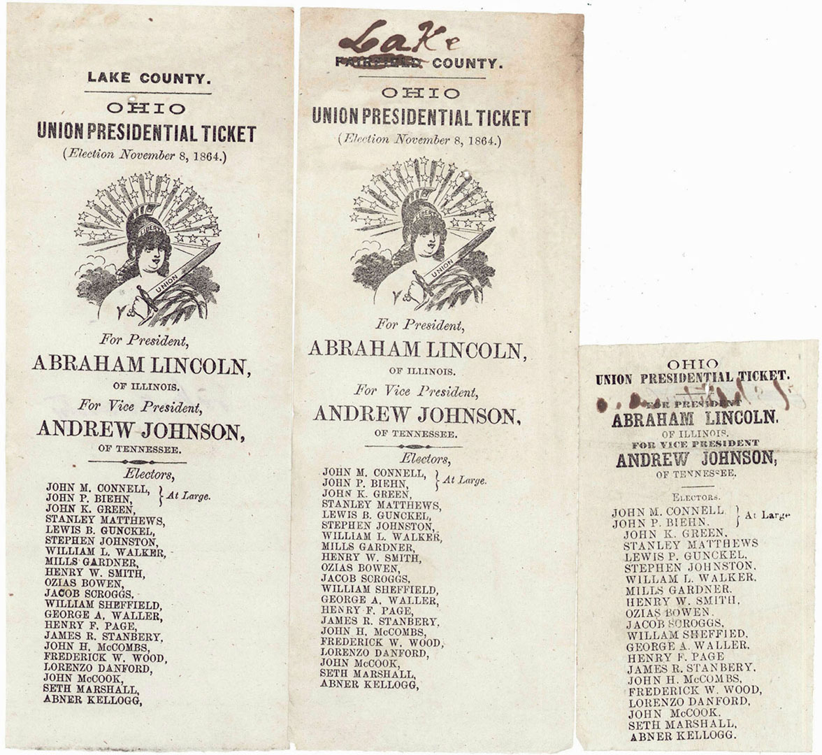 Lot 2872296: Three 1864 Election Ballots from Ohio