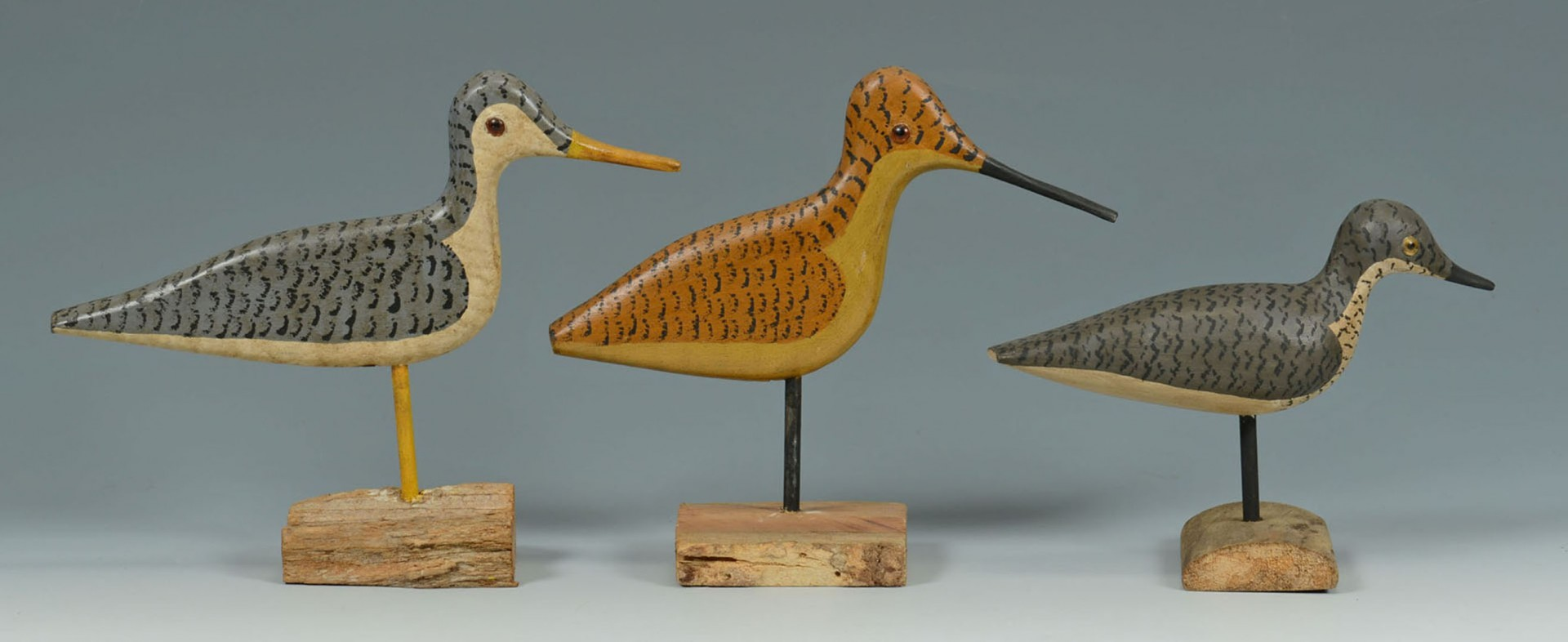 Lot 2872299: 9 Carved Shorebirds by Percy Perkins, N.H.