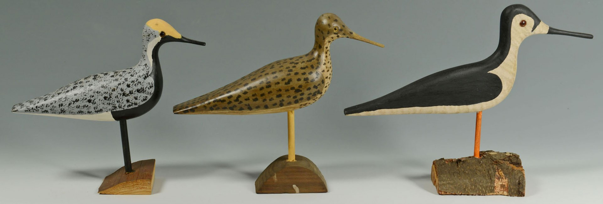 Lot 2872300: 10 Carved Shorebirds by Percy Perkins, N.H.