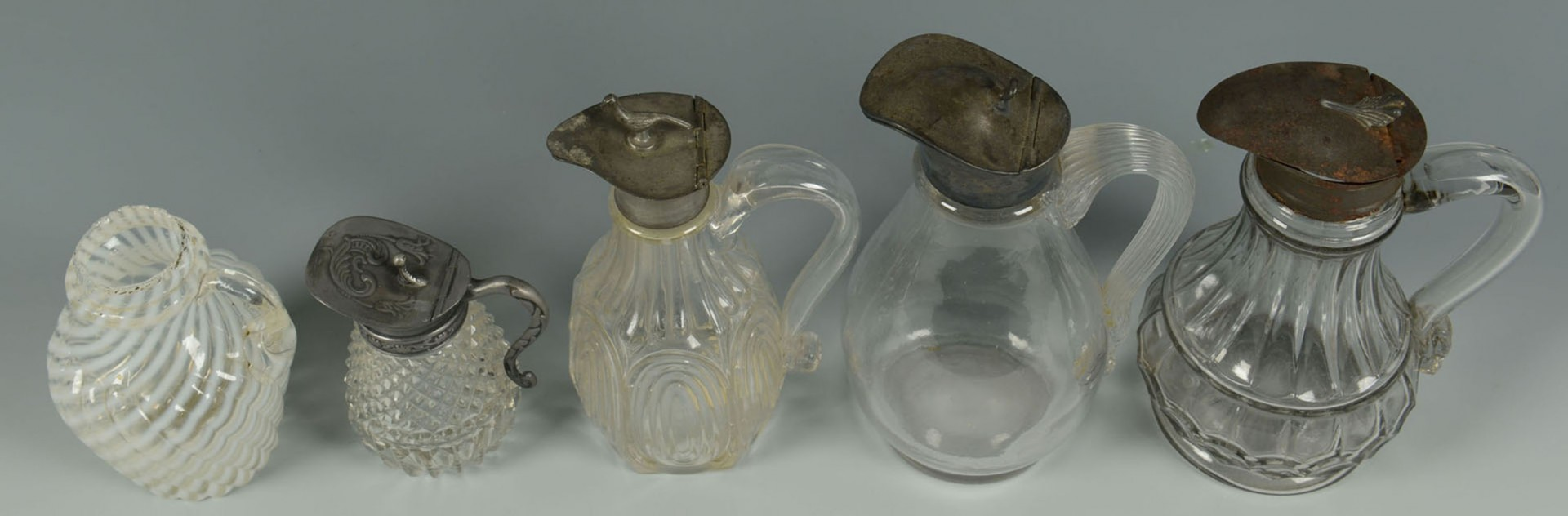 Lot 2872307: Grouping of glass cruets and yellow goblets, 10 pc