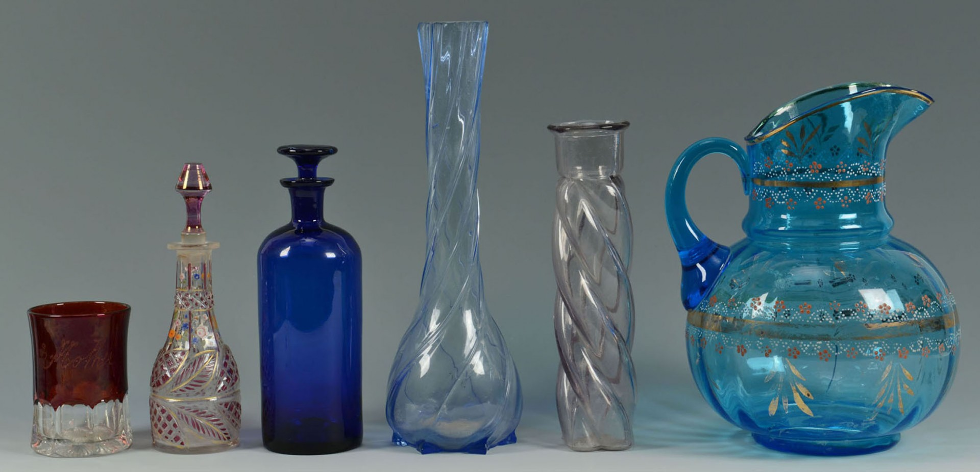 Lot 2872308: Large Grouping of Victorian Colored Glass, 21 pcs