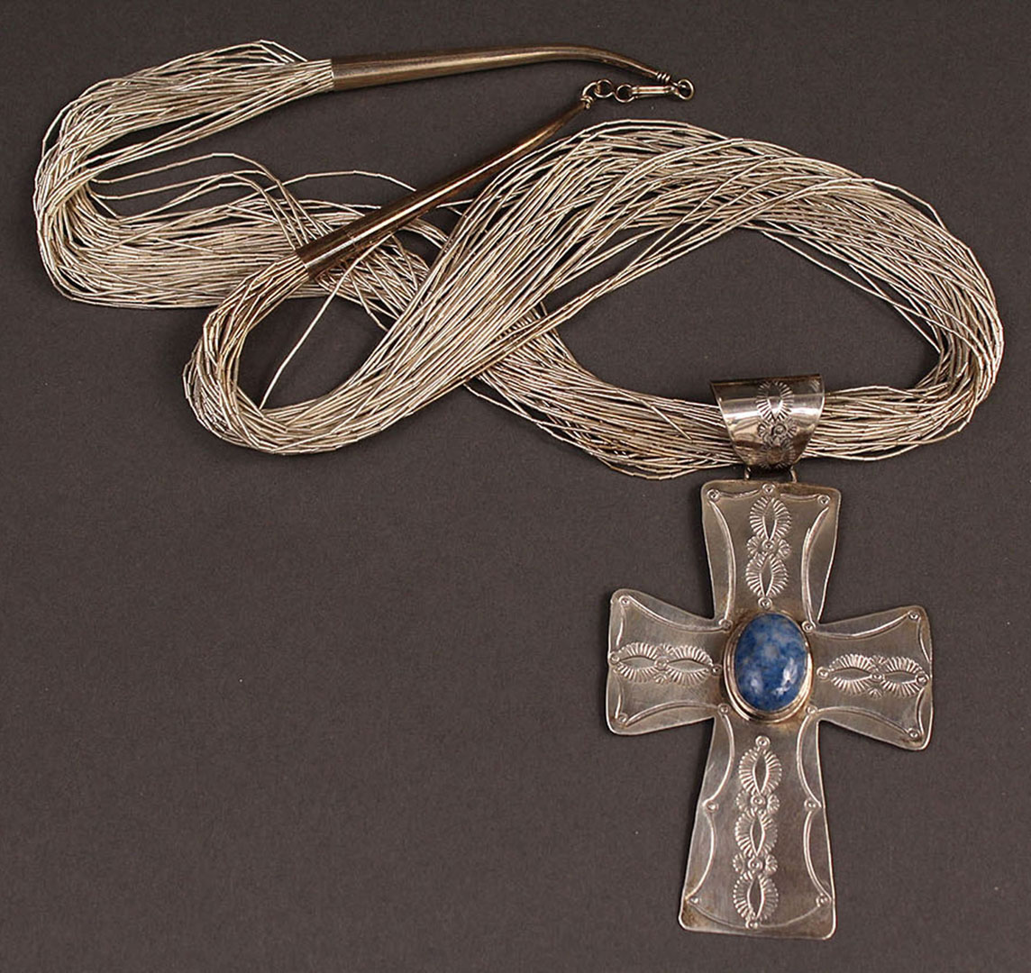Lot 2872316: Sterling and turquoise necklace, Native American