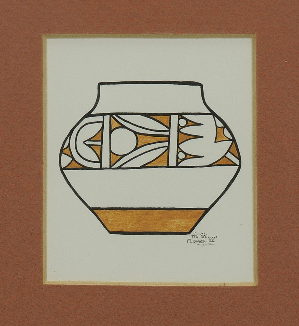 Lot 2872317: San Ildefonso Watercolor & Pendant, He Shi Flower