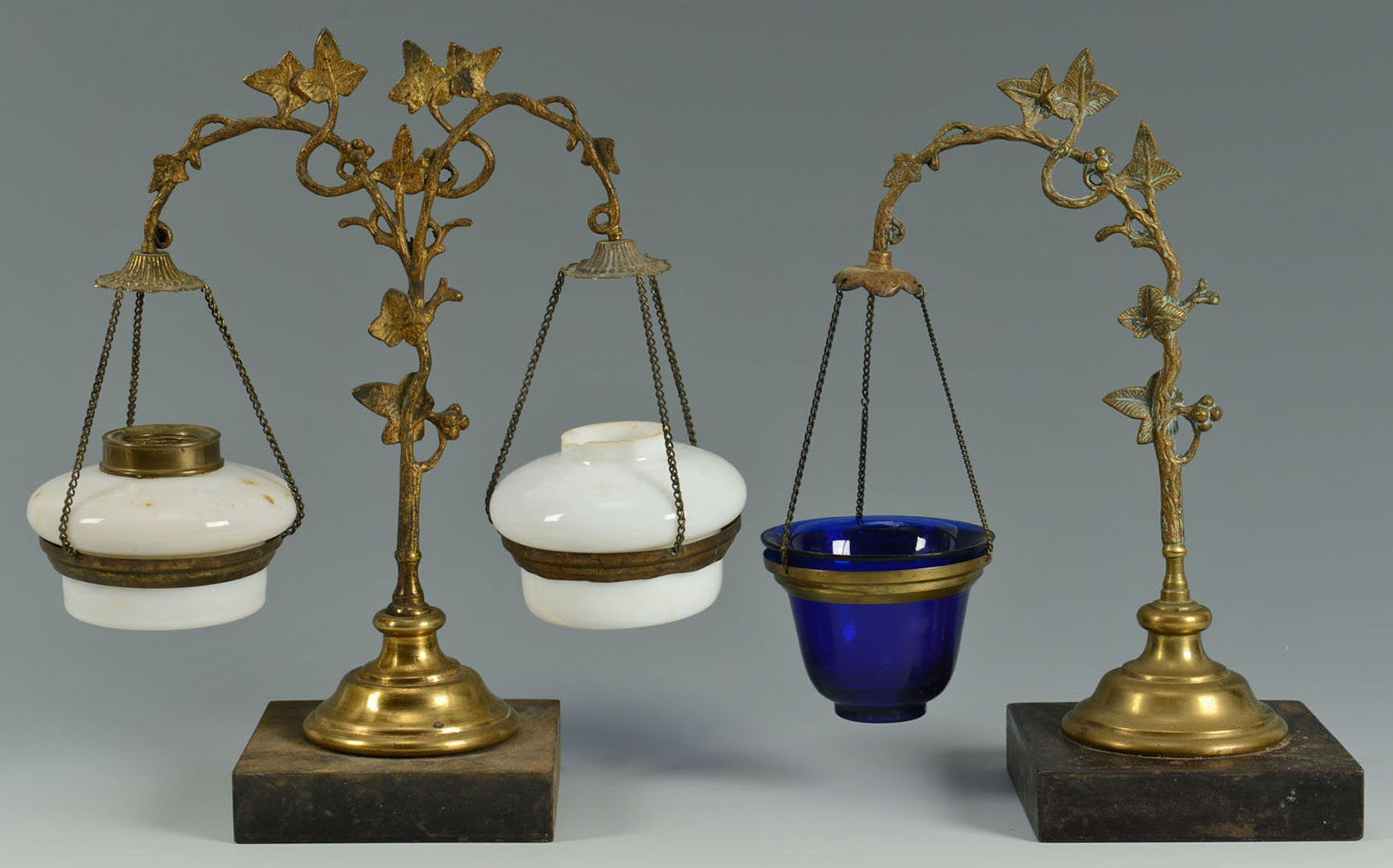 Lot 2872321: 2 Gilt Metal Lamp Stands and Other Items