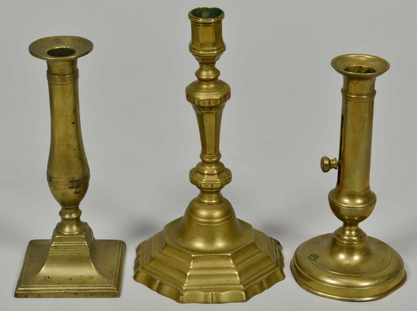 Lot 2872323: 13 Assorted Brass Candlesticks and Chambersticks,