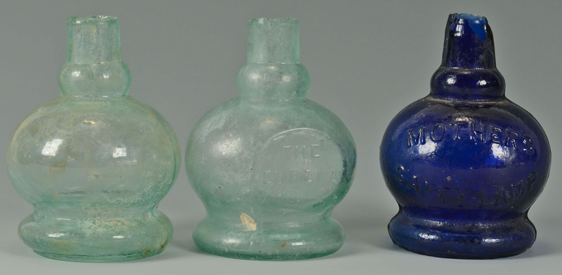 Lot 2872324: 23 Miniature blown, molded, & pressed glass oil an