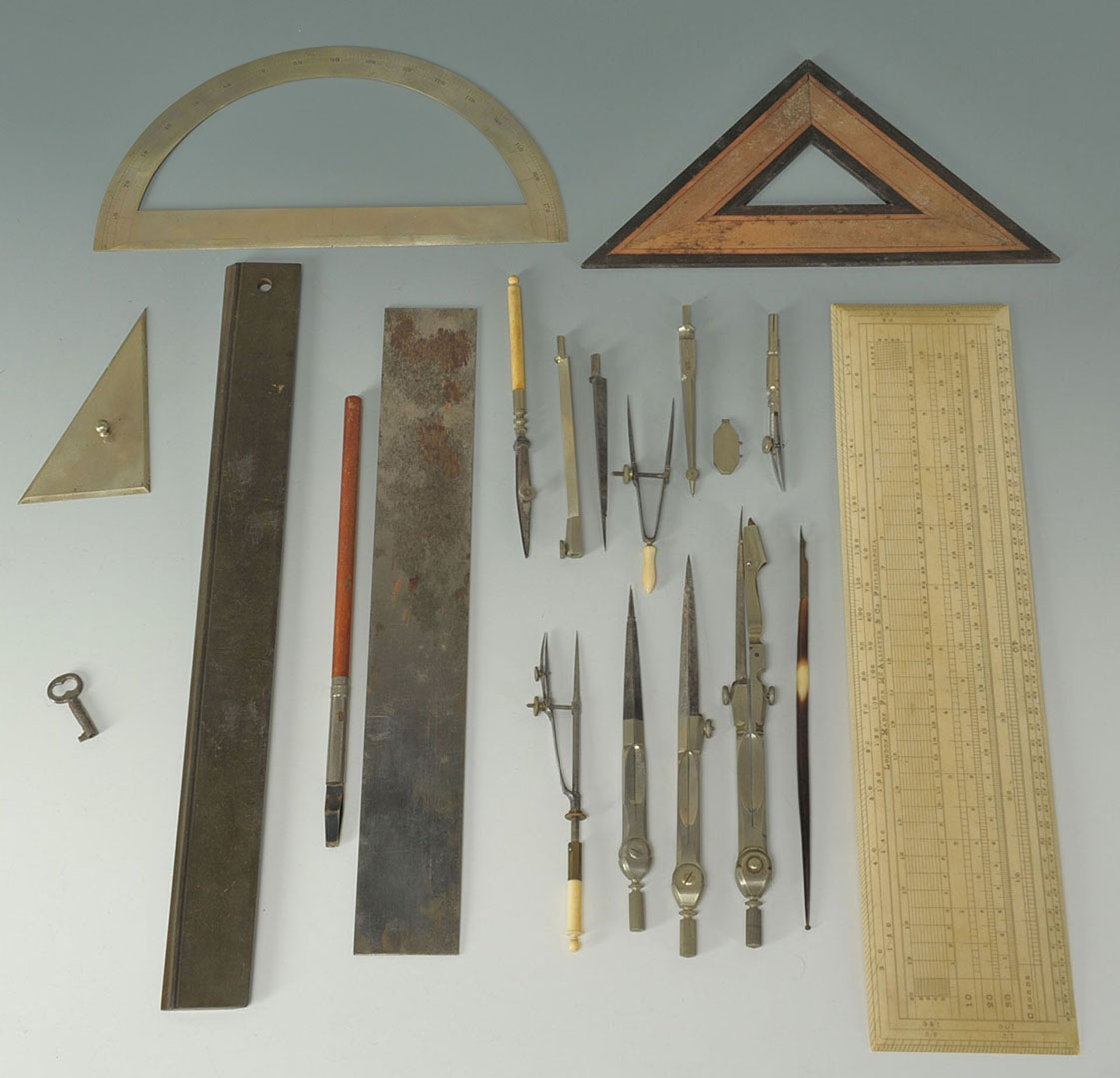 Lot 2872325: Cased set of architect's ivory tools, Joseph King