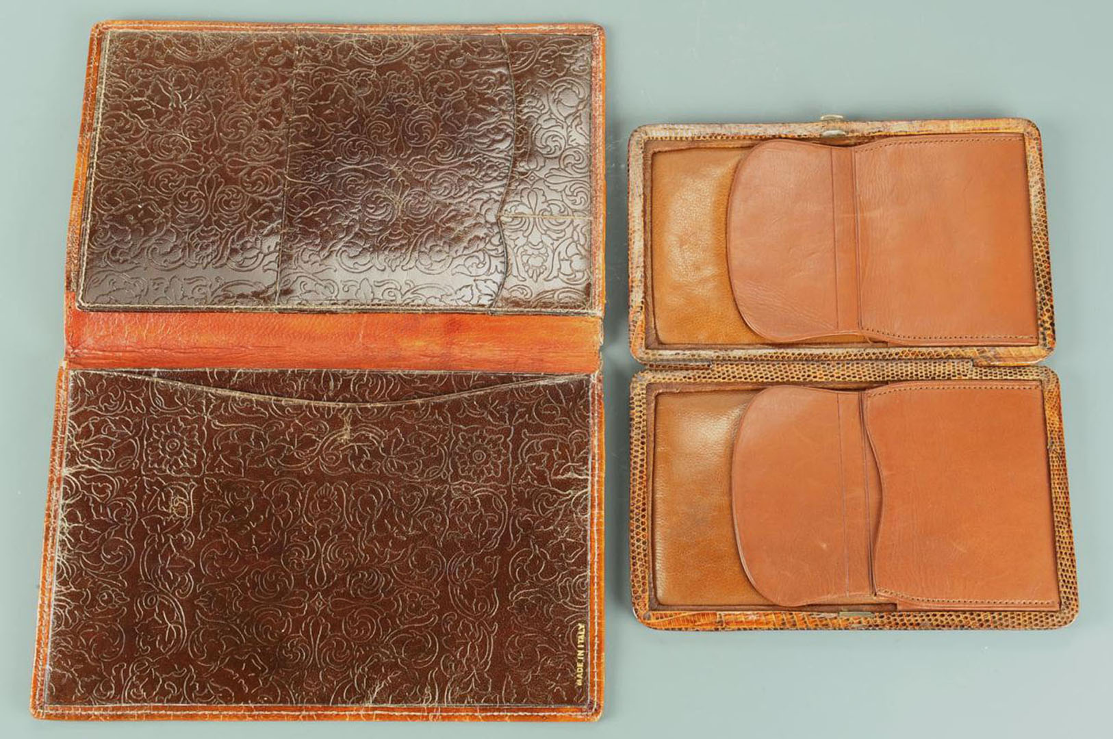 Lot 2872327: 2 Tobacco Boxes & 2 Vintage Wallets, 4 items