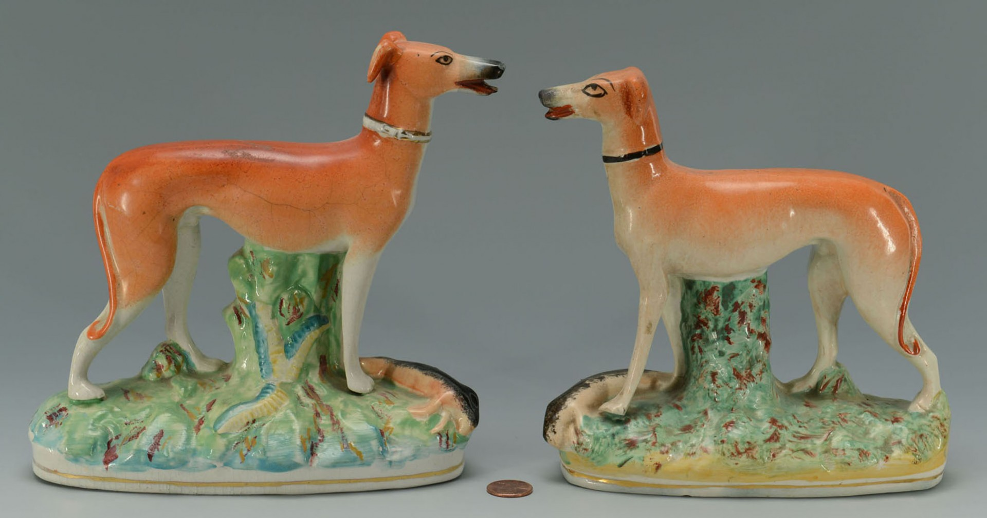 Lot 2872342: 2 Staffordshire Pottery Whippet Figures