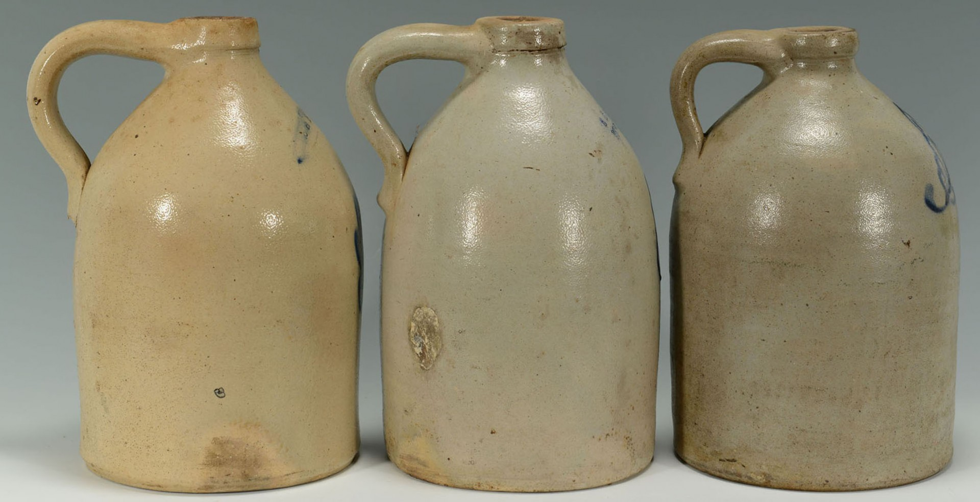 Lot 2872347: 3 New England Cobalt Decorated Stoneware Jugs