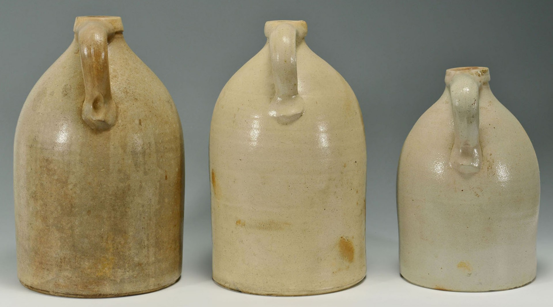 Lot 2872349: 3 Cobalt Dec. Stoneware Jugs, VT inc. Nichols & Bo