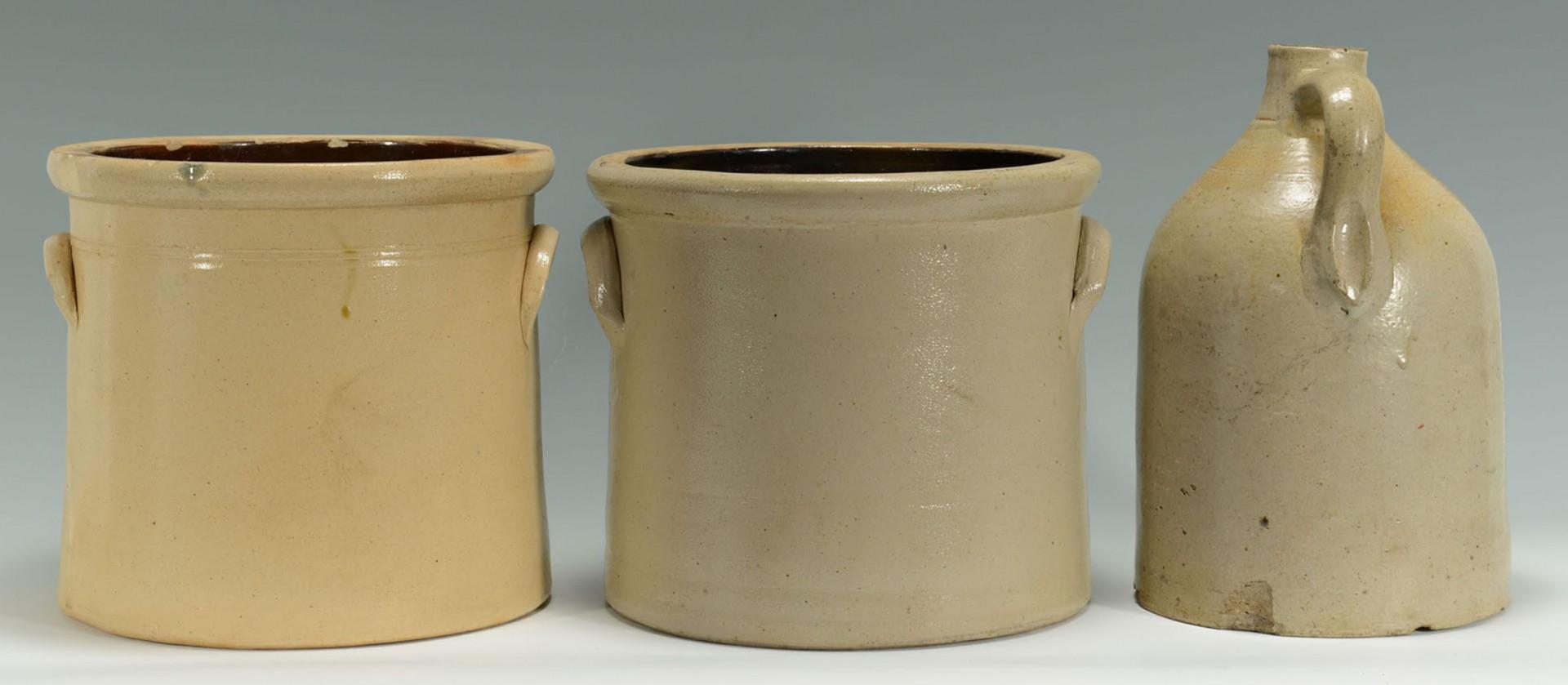 Lot 2872350: 2 Cobalt Dec. Stoneware Crocks & 1 Jug, New Englan