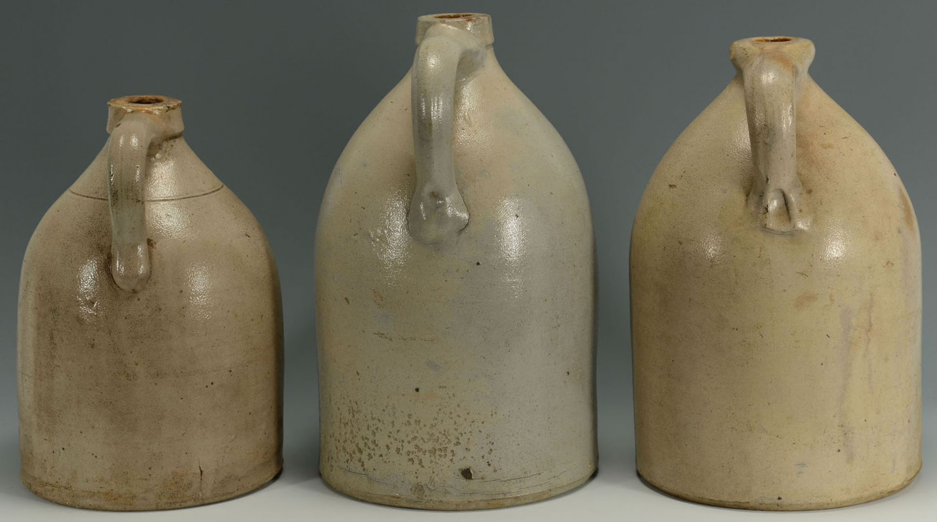 Lot 2872351: 3 Cobalt Decorated Stoneware Jugs