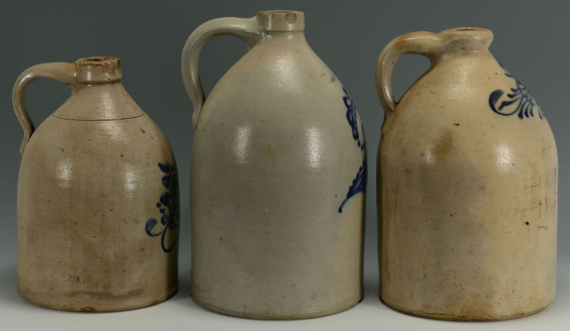 Lot 2872351: 3 Cobalt Decorated Stoneware Jugs