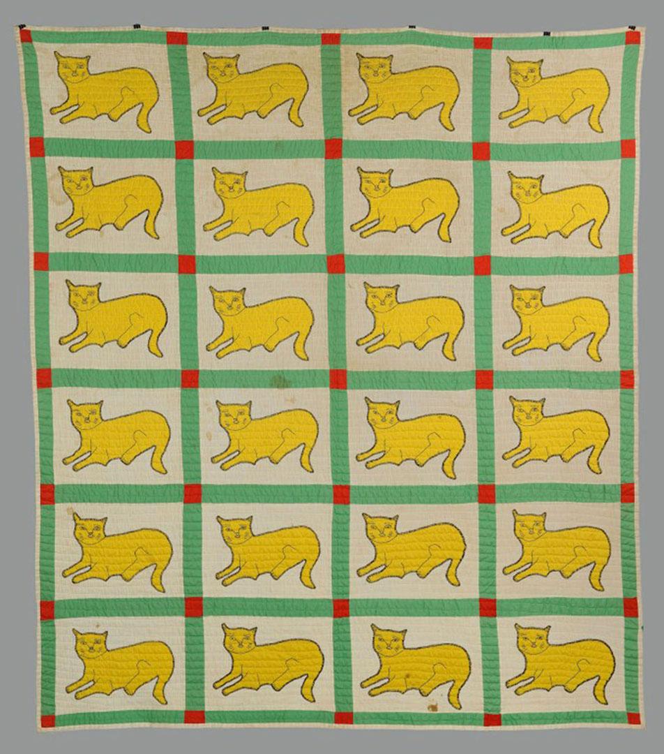 Lot 2872358: East TN Applique Quilt with cat design